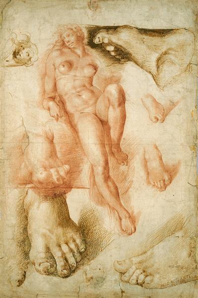 Copy After Michelangelo's  Aurora, c.1550 - Bartolomeo Passarotti