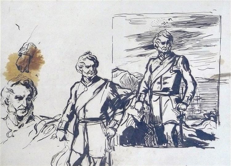 Etude pour le portrait du général Fergusson, gouverneur de Gibraltar, c.1860 - Alfred Dehodencq