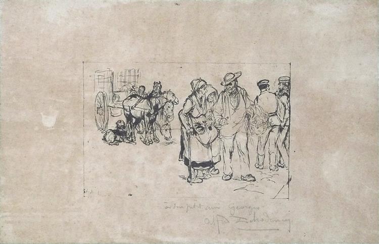 Retour du marché (dédicacé à Georges Rochegrosse, élève de l'artiste), c.1870 - Alfred Dehodencq