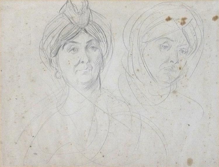 """Etude de personnages enturbannés (probablement étude pour """"la Mariée Juive""""), c.1879 - Alfred Dehodencq"""