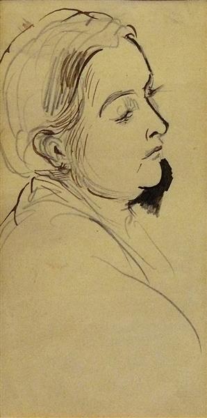 Portrait présumé d'Edmond ou d'Alfred, fils de l'artiste, de profil, c.1875 - Alfred Dehodencq