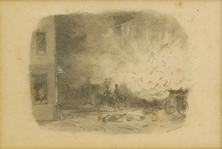 The attack on Rue St. Nicaise, c.1841 - Nicolas Toussaint Charlet