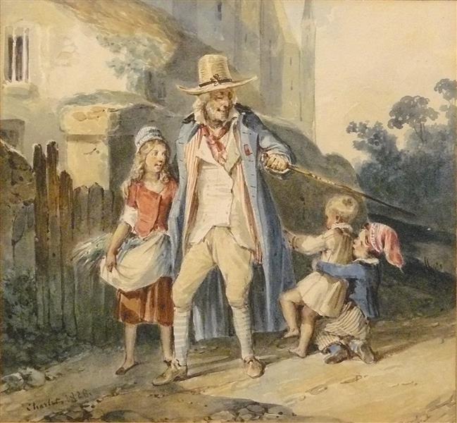 Vieillard en Promenade accompagné de trois Enfants - Charlet
