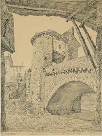 Sospel, Le Pont Vigie   31.5x23.1cm - Fernand Combes
