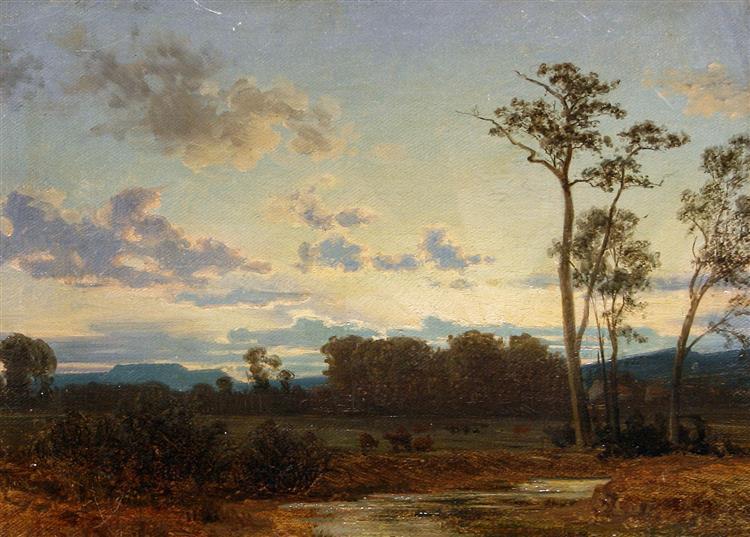 A River Landscape at Sunset, 1857 - Carl Gustav Rodde