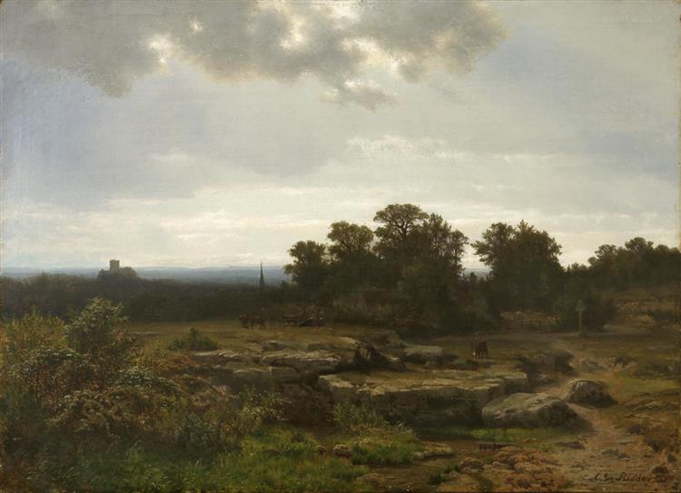 Landschaft Mit Verhangener Sonne - Carl Gustav Rodde