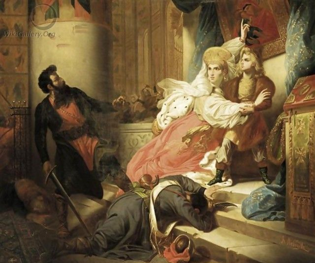 Peter the Great in Childhood Saved by Mother From Rage of Archers, 1830 - Charles de Steuben