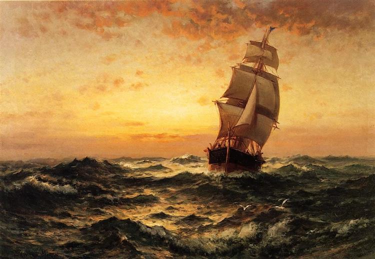 Ship at Sea, Sunset - Edward Moran