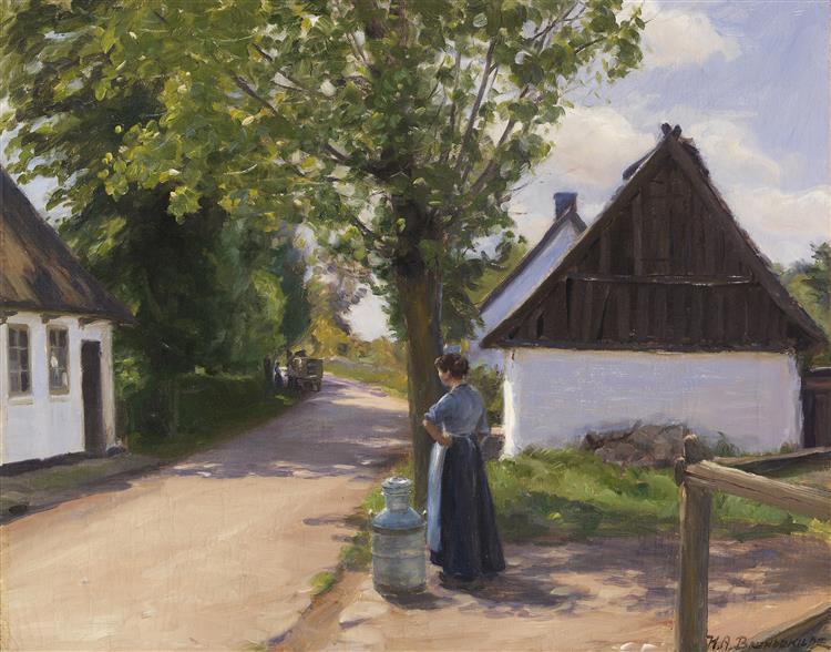 Dänische Dorfstraße Mit Bäuerin Und Milchmann, c.1880 - Hans Andersen Brendekilde