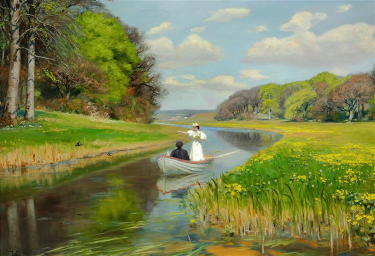 Spring. a Young Couple in a Rowing Boat on Odense Å, 1896 - Hans Andersen Brendekilde