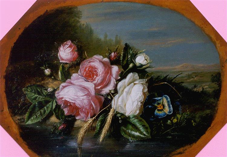 Bouquet Of Roses On The Waterfront, 1858 - Helen Augusta Hamburger