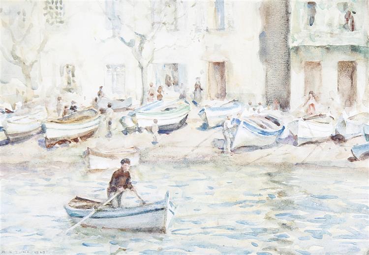 Boats at Cassis - Henry Scott Tuke
