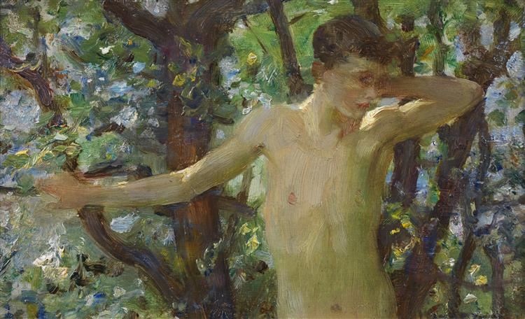 Half length study of a boy, c.1909 - Henry Scott Tuke