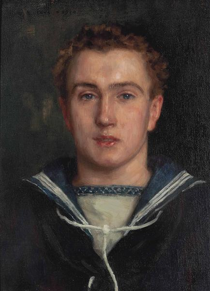 Portrait of Frederick Brewer, Bust-length, in a Sailor's Uniform, 1910 - Henry Scott Tuke