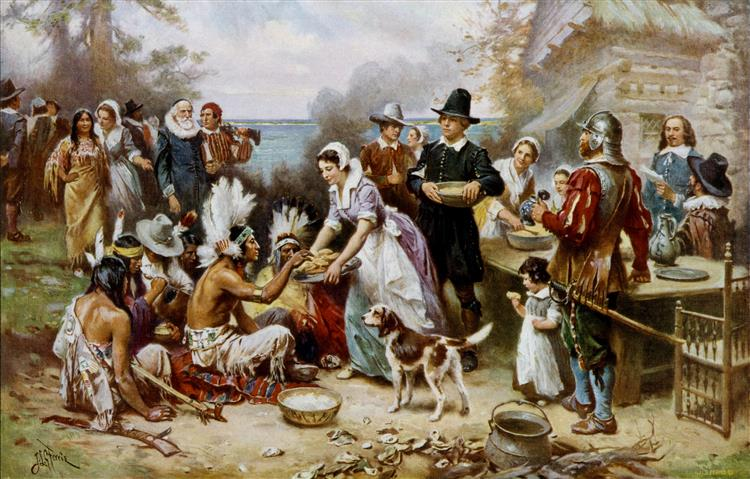 The First Thanksgiving, 1621 - Jean Leon Gerome Ferris