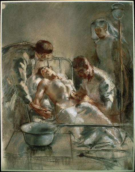 An Incident in the British Red Cross Hospital, Arc-en-barrois, 1915 - Henry Tonks