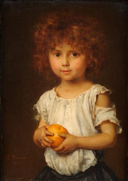 Kleiner Rotschopf Mit Apfelsine, 1866 - Ludwig Knaus
