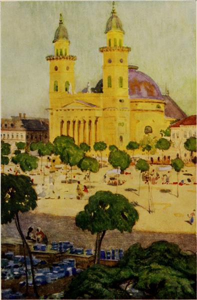 The cathedral and square, Szatmar, 1909 - Marianne Stokes