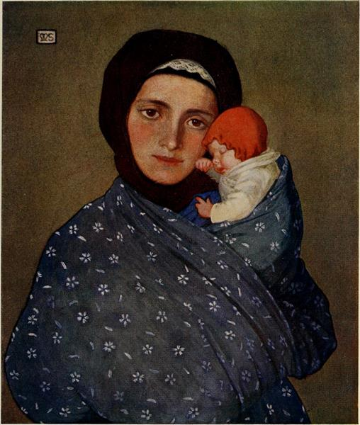 MOTHER AND CHILD AT MENGUSZFALVA, 1909 - Marianne Stokes