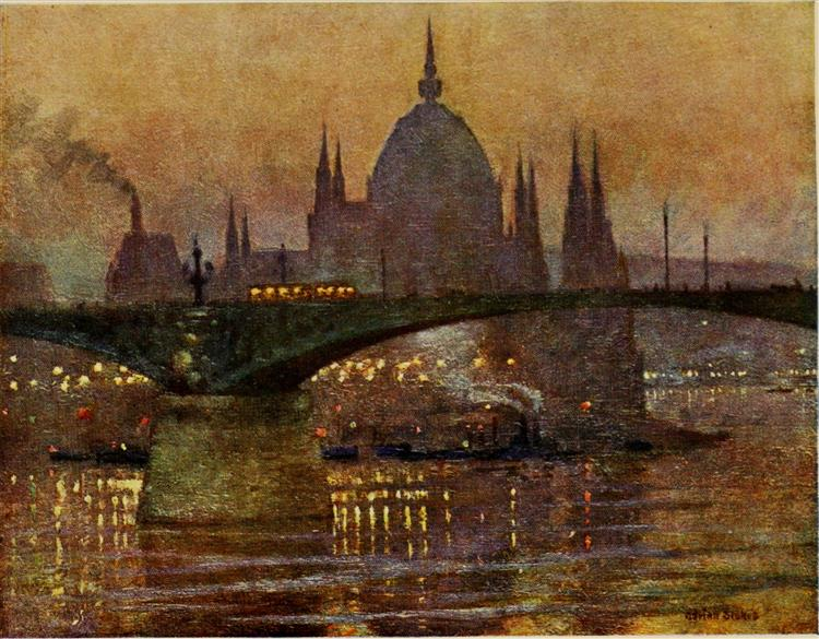 THE HOUSES OF PARLIAMENT AND MARGIT BRIDGE, BUDAPEST, 1909 - Marianne Stokes