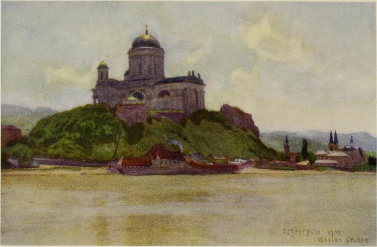 THE BASILICA OF ESZTERGOM (GRAN) FROM THE DANUBE, 1909 - Marianne Stokes