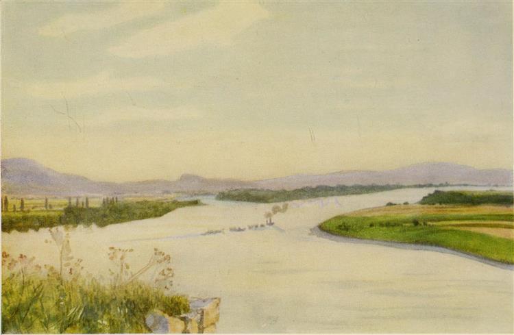 THE DANUBE FROM ESZTERGOM (GRAN), 1909 - Marianne Stokes