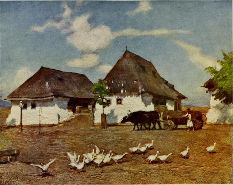 COTTAGES ON THE OUTSKIRTS OFBANFFY-HUNYAD, 1909 - Marianne Stokes