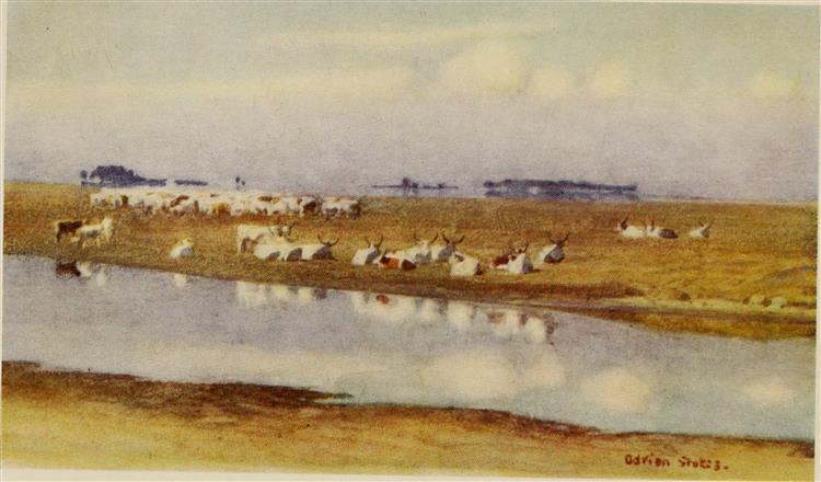 CATTLE ON THE PUSZTA OF HORTOBAGY, 1909 - Marianne Stokes