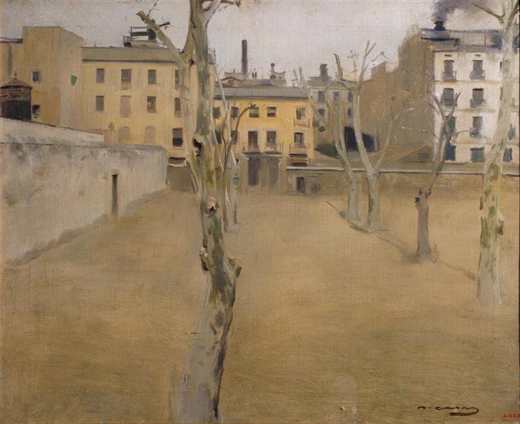 Courtyard of the Old Barcelona Prison (courtyard of the 'lambs') - Ramon Casas