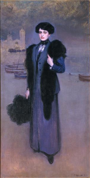 Portrait of Dolors Vidal - Ramon Casas
