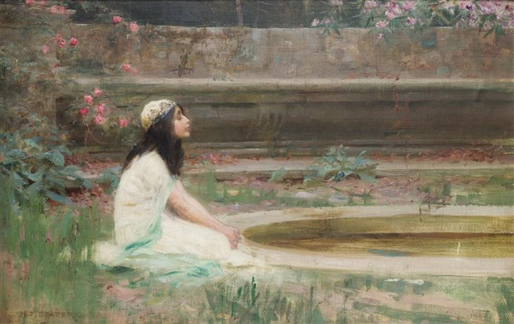 A Young Girl by a Pool - Herbert James Draper