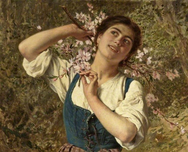 Capri Girl with Flowers - Sophie Gengembre Anderson