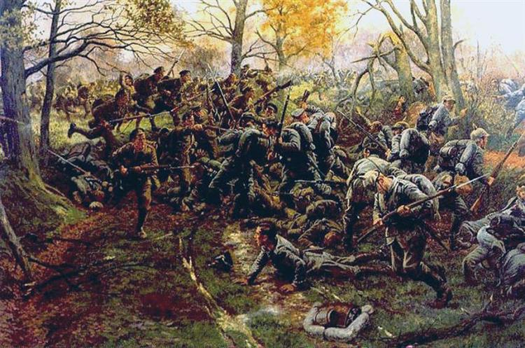 2nd Oxfordshire and Buckinghamshire Light Infantry Fight the Prussian Guard at the Battle of Nonne Bosschen, 11 November 1914, 1914 - William Barnes Wollen