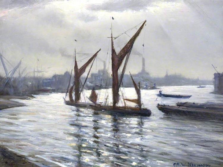 The Thames at Deptford, London, 1939 - C. R. W. Nevinson