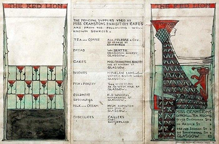 Menu Card Design for Miss Cranston's the Red Lion Café at the Glasgow International Exhibition of 1911, 1911 - Frances Macdonald