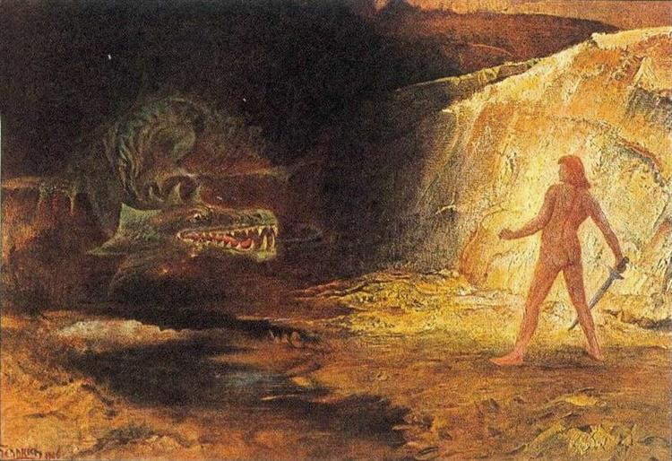 Sigurd and Fafnir, c.1906 - Hermann Hendrich