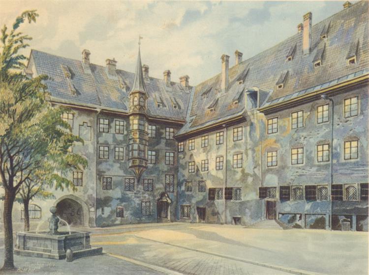 Halaman Rumah Tua Di München - Adolf Hitler