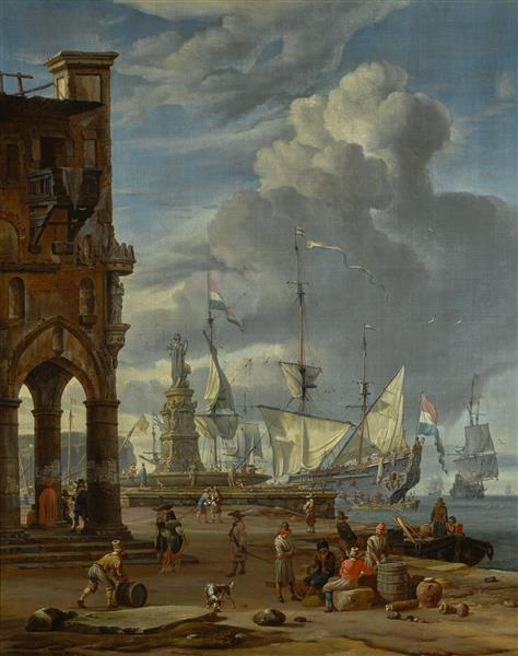 A southern port scene with numerous figures on a quayside - Abraham Storck