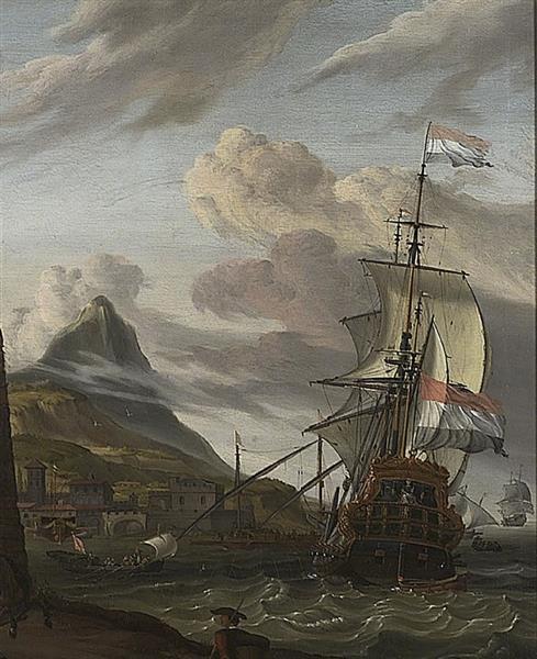 A Dutch Ship Entering a Mediterranean Port - Abraham Storck