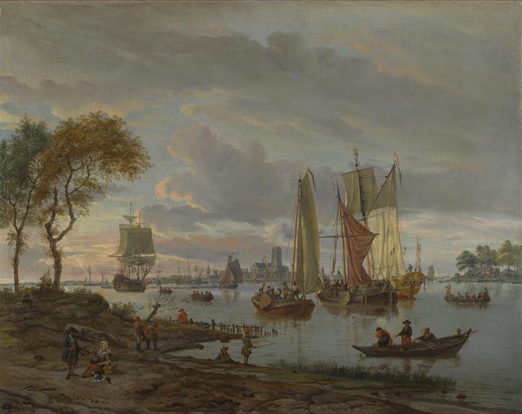 Een rivierzicht - Abraham Storck