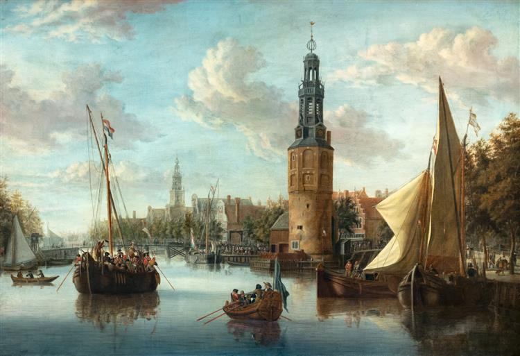Embarkation of Soldiers near the Montelbaanstoren, 1690 - Abraham Storck