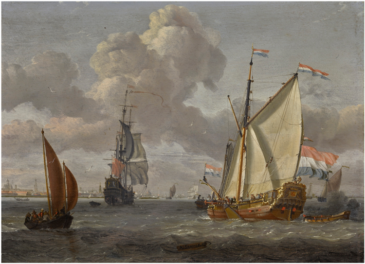 SHIPPING ON THE IJ, WITH A VIEW OF AMSTERDAM BEYOND - Abraham Storck
