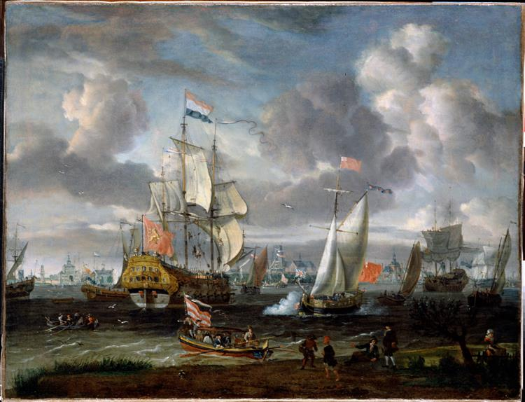 An English Yacht Saluting a Dutch Man-of-war in the Port of Rotterdam, c.1708 - Abraham Storck