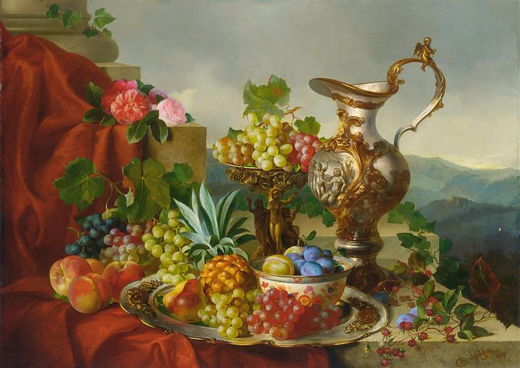 A Still Life With Fruit, Roses And A Pitcher Set On A Marble Ledge - Adalbert Schaffer