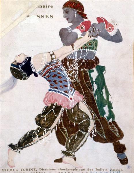 Michel Fokine Avec Sa Femme Vera Dans Schéhérazade, c.1913 - Valentine Hugo