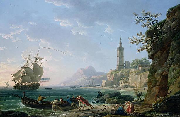 A Coastal Mediterranean Landscape with a Dutch Merchantman in a Bay, 1769 - Claude-Joseph Vernet