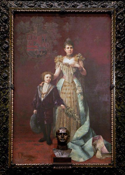 Retrato De La Reina Regente María Cristina Y Del Rey Alfonso XIII - Francesc Masriera