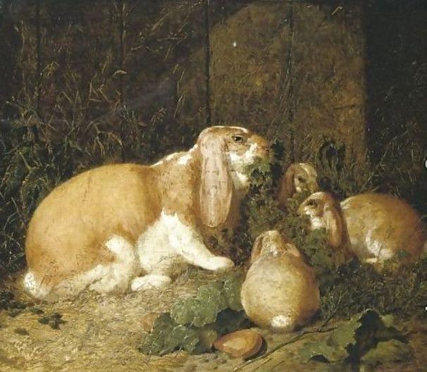Lop Eared Rabbits, 1860 - John Frederick Herring Sr.