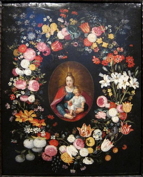Many Different Types of Flowers Surrounding Madonna and Child - Jan Brueghel the Elder