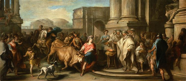 Theseus Taming the Bull of Marathon, 1730 - Шарль Андре Ван Лоо